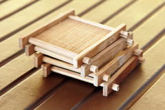 Bambusowa materialna herbaciana filiżanka siedzi Fotografia Royalty Free