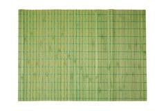 Bambusowa miejsce mata dla zdroju i kosmetyków tła odizolowywającego na bielu Obrazy Stock