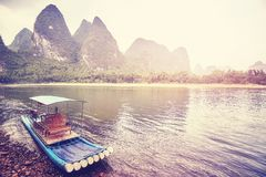 Bambusowa tratwa przy Li rzeką, Xingping, Chiny Zdjęcie Royalty Free