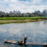 Bambusowa tratwa przy Ulong rzeką blisko Yangshuo Obrazy Royalty Free