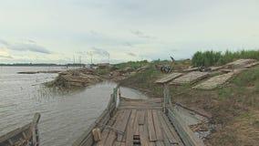 Bambusowa tratwa, trzcina, Mekong, Cambodia, południowo-wschodni Asia zbiory wideo