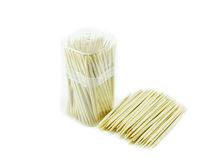 Bambusowa wykałaczka na białym backgroud Zdjęcia Stock