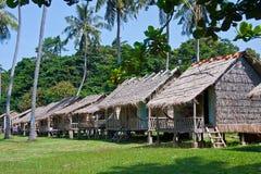 Bambusowi bungalowy w królik wyspie Kambodża Obrazy Stock