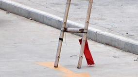 Bambusowi drabina stojaki w ulicie zbiory