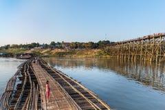 Bambusowi i drewniani mosty w Tajlandia Fotografia Stock