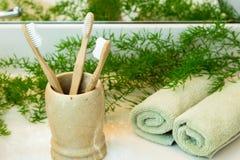 Bambusowi toothbrushes w filiżance, ręcznikach i zieleniach na łazienki counte, Zdjęcie Royalty Free