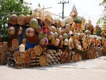 Bambusowi wickerwork kosze na Thailand rynku Zdjęcie Stock