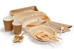 Bambusowy drewniany tableware odizolowywający na bielu zdjęcie royalty free