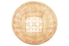 Bambusowy kosz na białym, odgórnym widoku, Zdjęcia Royalty Free