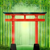 Bambusowy las z czerwoną Japońską bramą royalty ilustracja
