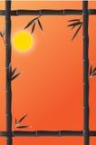 Bambusrahmen mit dem Mond auf dem Hintergrund stock abbildung