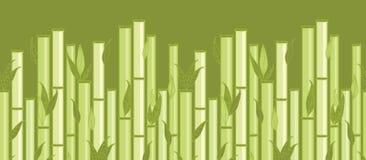 Bambusstämme und horizontales nahtloses der Blätter stock abbildung