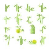 Bambusvektorsymbolikonen eingestellt Lizenzfreies Stockfoto
