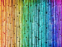 Bambuszaunweinlese-Steigungsregenbogen Stockbild