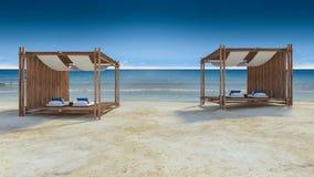 Bambutält på stranden Arkivbilder