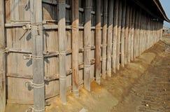 Bambuväggtextur royaltyfria foton