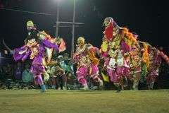 Chhou dancers performing at night, Purulia Stock Images