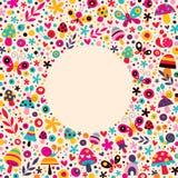 Bamushrooms,蝴蝶,蜗牛,开花自然圈子框架 免版税库存图片