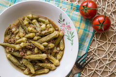 Bamya / Okra / Turkish traditional food with minced meat Stock Photo