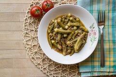 Bamya / Okra / Turkish traditional food with minced meat Stock Image