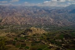 Ancient Bamyan city aerial view, Afghanistan. Bamyan city is one of archaeology city. Many Buddha statue heritage in Bamyan city. the picture shows hills where Royalty Free Stock Photography