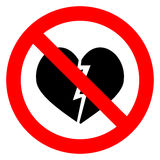 Ban broken heart. Stop heart break, no divorce, shattered heart, vector illustration Stock Image