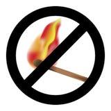 Ban burning match symbol Royalty Free Stock Images