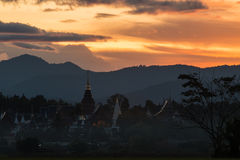Ban Den Temple with sunset light. Chiang mai,Thailand Royalty Free Stock Images