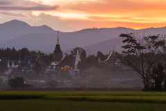 Ban Den Temple with sunset light. Chiang mai,Thailand Stock Photo