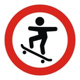 Ban on entry for skateboarders, road sign Stock Photography