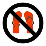 Ban flip flops sign Stock Image