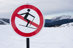 Ban forbidden sign symbol Skiing Stock Photo