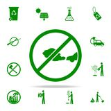 ban on gases from cars green icon. greenpeace icons universal set for web and mobile stock illustration