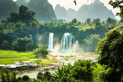 Ban Gioc Detian Falls with unique natural beauty. On the border between China and Vietnam royalty free stock photo