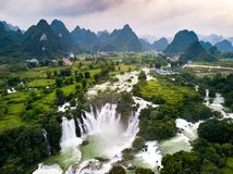 Ban Gioc Detian waterfall on China and Vietnam border aerial vie. Ban Gioc Detian waterfall on the border between China and Vietnam aerial view royalty free stock photography