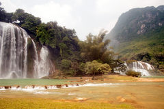 Ban Gioc Falls or Detian Falls are 2 waterfalls . Royalty Free Stock Photo