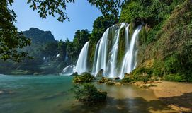 Ban Gioc / Detian WaterFalls. Ban Gioc is the most beautiful one in VietNam. It is also the natural border between Vietnam and China. Haft of this biggest part Royalty Free Stock Images