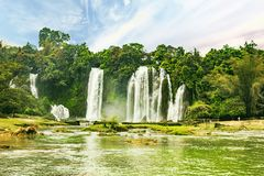 Ban Gioc waterfall in Cao Bang, Viet Nam - The waterfalls are located in an area of mature karst formations were the original Stock Photos
