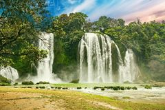 Ban Gioc waterfall in Cao Bang, Viet Nam - The waterfalls are located in an area of mature karst formations were the original. Limestone bedrock layers are Royalty Free Stock Image