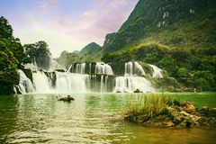 Ban Gioc waterfall in Cao Bang, Viet Nam - The waterfalls are located in an area of mature karst formations were the original Stock Images