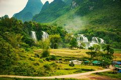 Ban Gioc waterfall in Cao Bang, Viet Nam - The waterfalls are located in an area of mature karst formations. Royalty Free Stock Photos