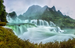 Ban Gioc Waterfall Craggy Limestone Permissive Side Misty Morning Stock Photo