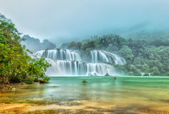 Ban Gioc Waterfall misty in the morning dew Stock Images