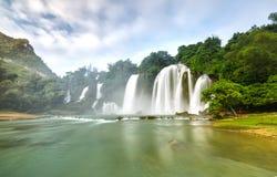 Ban Gioc Waterfall misty morning Stock Photo