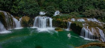 Ban Gioc Waterfall - Detian Waterfall. Ban Gioc Waterfall is the most magnificent waterfall in Vietnam, located in Dam Thuy Commune, Trung Khanh District, Cao Royalty Free Stock Photos