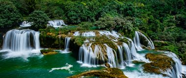 Ban Gioc/Detian waterfall. Ban Gioc Waterfall is one of Vietnam's most impressive natural sights. Located in the northeastern province of Cao Bang, the falls Royalty Free Stock Photo