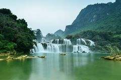 Ban Gioc waterfall in Trung Khanh, Cao Bang, Viet Nam. Great waterfall named Ban Gioc in Trung Khanh district, Cao Bang province, Viet Nam royalty free stock photos