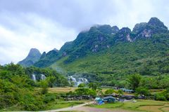 Ban Gioc Waterfall in Vietnam. View of the beautiful Ban Gioc Waterfall on the border of Vietnam and China Royalty Free Stock Photography