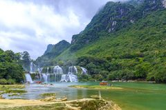 Ban Gioc Waterfall in Vietnam. View of the beautiful Ban Gioc Waterfall on the border of Vietnam and China Royalty Free Stock Photos