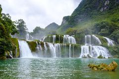 Ban Gioc Waterfall in Vietnam. View of the beautiful Ban Gioc Waterfall on the border of Vietnam and China royalty free stock photo